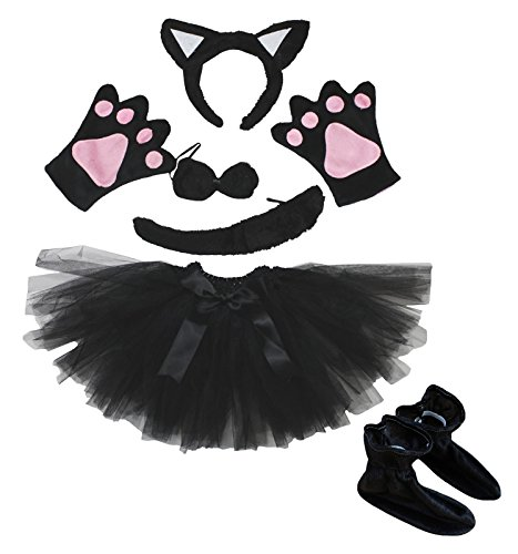 Cat Headband Bowtie Tail Glove Shoes Black Tutu 6pc Girl Costume Dress for Party (One Size) (Little Girl Black Cat Costume)