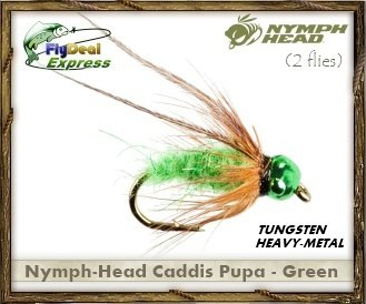 Caddis Pupa Patterns (NYMPH-HEAD CADDIS PUPA GREEN - Nymph (2-pack))