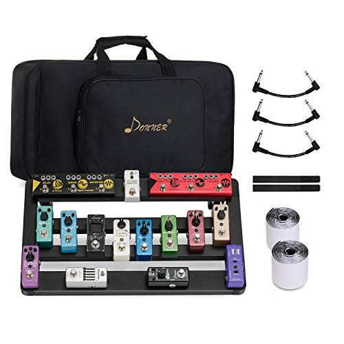 Donner Guitar Pedal Board Case DB-5 Disassembled Aluminium Pedalboard 20'' x 11.4'' x 4'' with Bag Cable