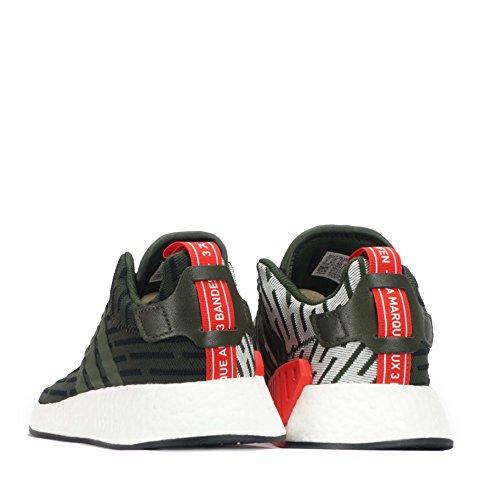 adidas NMD_r2 - Zapatillas de Malla Para Hombre Multicolor Dark Green/Black/White 43 1/3 EU