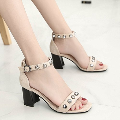 Women's Studded Rivets Sexy Slides Chunky Toe with JULY Beige Open Strappy T Shoes Buckle Heel Dressy On Sandals Suede Slip 5qBpSWwc