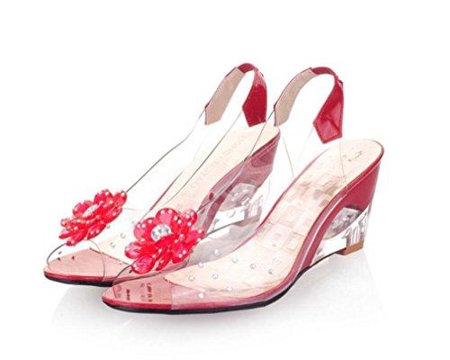 SHFANG Sandalias de las señoras Flores del verano Ocio transparente Compras cómodas de la playa Cinco colores los 7cm Red