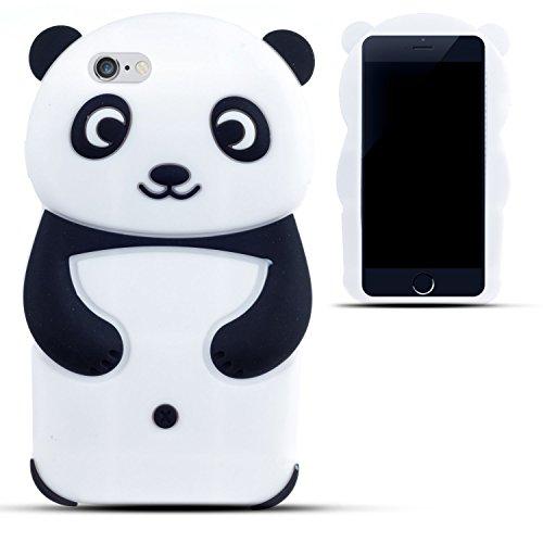 SKS Distribution® In bianco e nero panda felice Custodia in silicone / Cover / Case per Apple Iphone 5 / 5S / 5C / SE