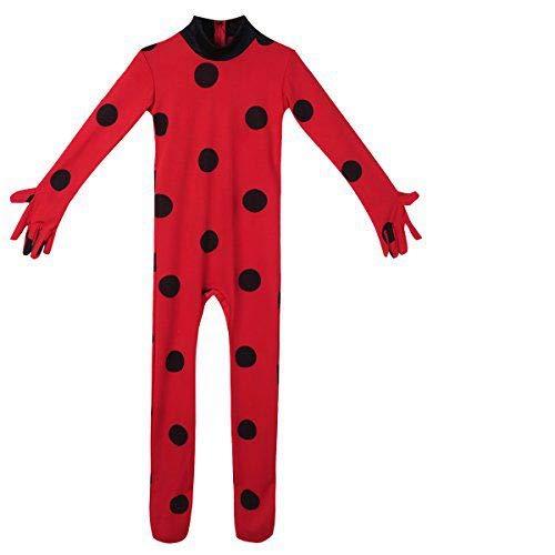CHICTRY 3Pcs Traje de Disfraces Mariquita Cosplay Animal Leotardo con Lunares Monos Bodysuit Conjunto para Niñas Disfraz Halloween Carnaval Niños 5-12 ...