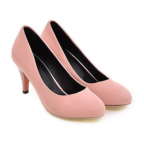 Balamasa Damesschiletto Ronde Neus Elastische Pull-on Stoffen Pumps-schoenen Roze