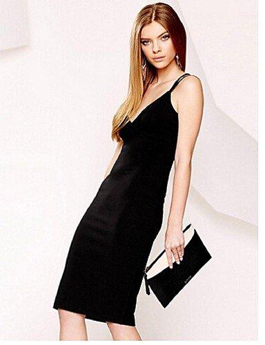 PU&PU Robe Aux femmes Gaine Simple,Couleur Pleine Col en V Mi-long Polyester , black-xl , black-xl