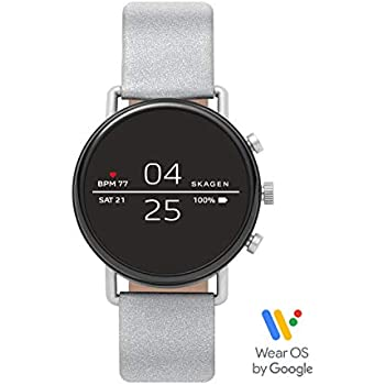 d51d629f1 Skagen Connected Falster 2 Stainless Steel with Reflective Leather Strap  Touchscreen Smart Watch, Color:
