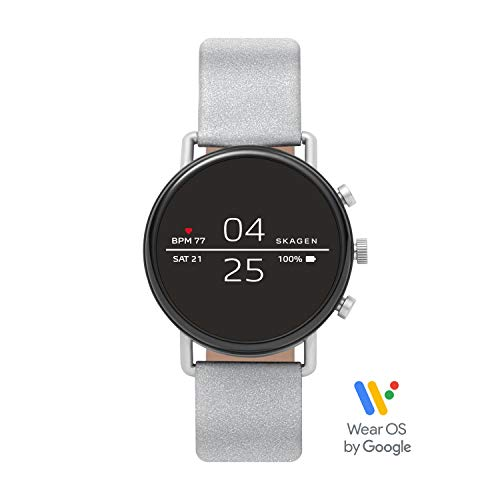 (Skagen Connected Falster 2 Stainless Steel with Reflective Leather Strap Touchscreen Smart Watch, Color: Silver-Tone: (Model: SKT5106))