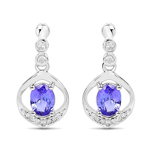 14K White Gold Tanzanite and White Diamond Earrings (0.76 cttw, I-J Color, I2-I3 Clarity) from Johareez
