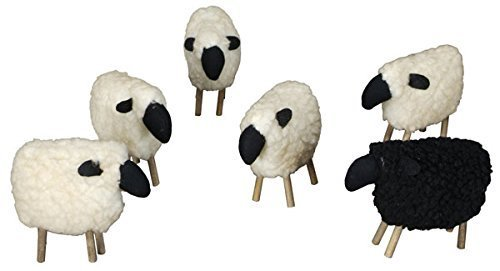 Wooly Sheep White & Black Set of 6 - Stuffed Primitive Country Rustic Decor ()
