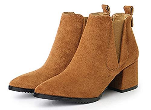 Chelsea Bottines Femme Brun Aisun Style Chunky Angleterre Mode Talon Travail 8y1cq0yS