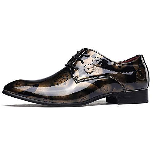 ハプニング鳴らす数字メンズファッションレザーシューズ大きいサイズの男性の靴明るいレザーファッションビジネスシューズヨーロッパとアメリカのファッションの潮の靴