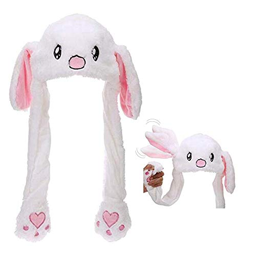 ggomaART Rabbit Ears Movable Hat - Cute Trendy Animal Bunny White Moving Ear Jumping and Flapping Plush Head Wear for Adult Men and Women, Girls, Boys, Kids, Children, Costume, Event, -