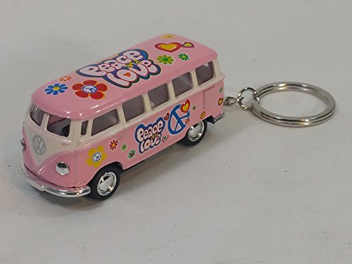 Kinsmart Pink Classic 1962 Love & Peace VW Volkswagen (Hippie) Bus Keychain 1/64 Pastel Color Diecast Car Diecast Car Keychain