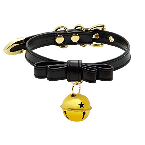 Gold And Black Costume Jewelry (Handmade Cosplay Lolita Kitty Bell Collar Leather Bow Choker Necklace (black choker with gold bell))