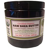 Certified ORGANIC RAW SHEA BUTTER, Huge 17.5 oz Tall Amber BPA Free Jar Unrefined, Virgin, Ivory White (Tan) Premium Quality Made in Africa From The Shea Nut Best Non-comedogenic Natural Moisturizer.