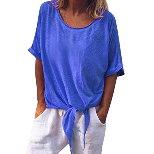 TANLANG ♥Women Solid Color Top Knotted Long-Sleeve Popover Shirt 3/4 Sleeve Side Shirring Drape Dolman Shirts V Neck Tops - Knotted Buckle