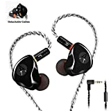 in-Ear Monitors in Ear Headphone Earbuds Wired Earphone Dual Drivers Headphone with MMCX Detachable Cables,Noise-Isolating Comfort Earbud for Musicians Sweatproof Sports Headphone Earphones (Black)