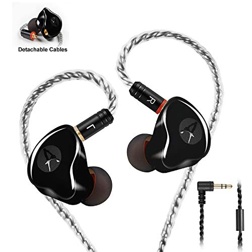 In Ear Monitors,Wired Earbuds Earphone Dual Drivers Headphone with MMCX Detachable Cables,Noise-Isolating in-ear Monitors for Musicians Sweatproof Sports Headphone, Hifi Stereo (Black, no Mic)