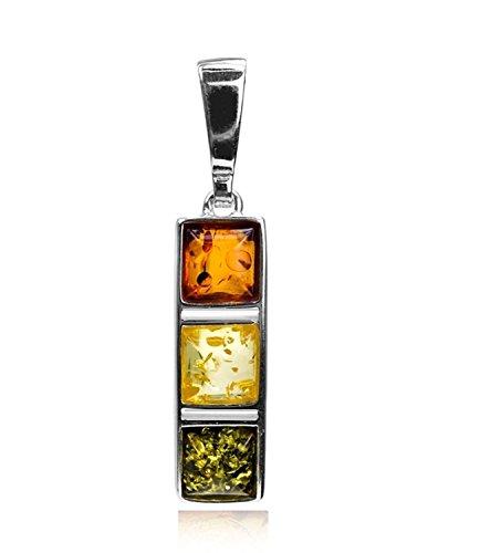 - Sterling Silver Multicolor Amber Square Pendant