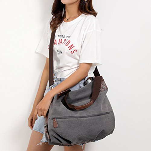 Tote Shopper Bags Vintage Handbags Womens Gray Handbag Large Gray Bag Top Crossbody Shoulder ZKOOO Canvas Handle C7PwXXq