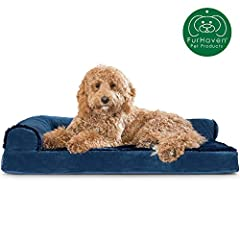 Pamper your pet with a new Furhaven Deluxe Orthopedic Plush Faux Fur & Velvet L Shaped Chaise Lounge Sofa-Style Living Room Corner Couch Pet Dog Bed! A luxuriously soft plush sleep surface is complemented by velvet covered bolsters and gu...