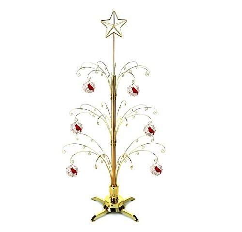 HOHIYA Artificial Christmas Ball Tree Decorations Rotating Metal Ornament Stand Brass Plated 60 Hooks 3 to 4 (Rotating Artificial Christmas Trees)