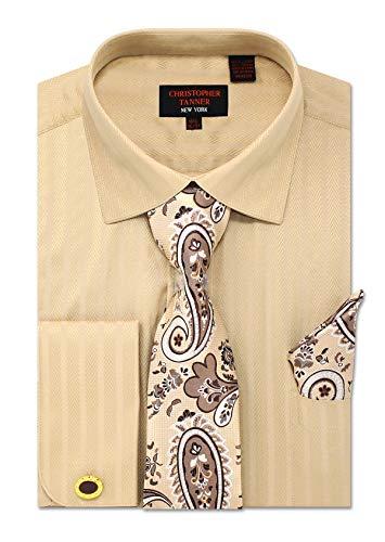 Christopher Tanner Men's Regular Fit Dress Shirts with Tie Handkerchief Cufflinks Combo Herringbone Stripe Pattern Tan