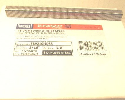 Fasco EB9210MDSS Stainless Steel 3/8'' long Staples