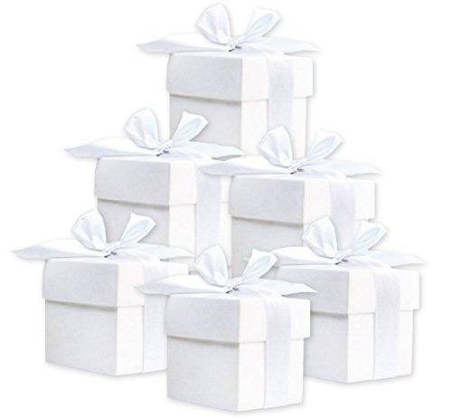 50 scatole regalo (bianco) per matrimonio, battesimo, nascita PartyDecopl