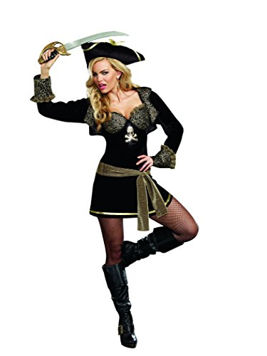 Rock The Ship Pirate Adult Costumes (Dreamgirl Women's Rock The Ship, Black, Large)
