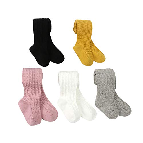 Looching 5 Pack Baby Toddler Girls Cotton Cable Knit Tights Legging Stocking Pants Pantyhose ()