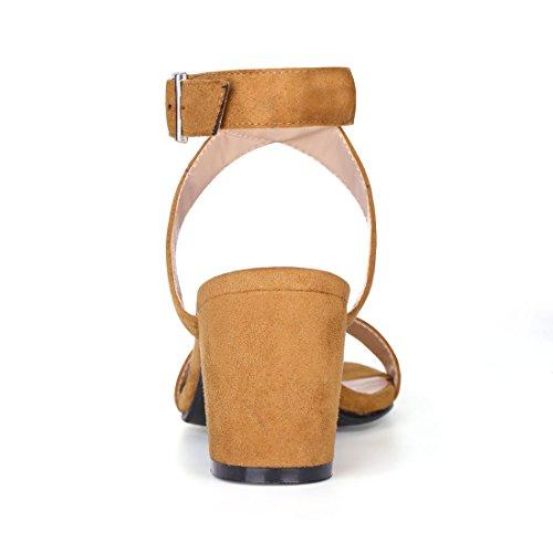 Allegra K Sandali con Cinturino Caviglia con Cinturino Incrociato sul Tallone Nero US Marrone 9