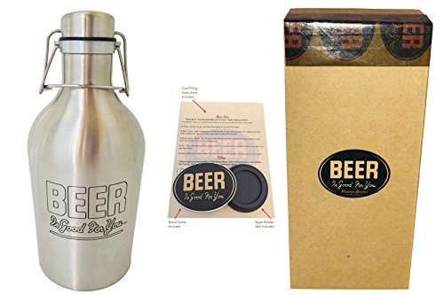 Premium Beer Growler | Single-Wall 2 Liter / 64 oz Flip/Swing-Top Stainless Steel Beer Bottle w/ Etched Logo | by: BEER Is Good For You | Includes: Gift Box, Spare Seal, Growler Tips & Sticker