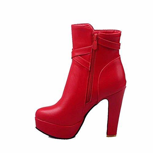 VogueZone009 Damen Reißverschluss Rund Zehe Hoher Absatz PU Leder Stiefel mit Schnalle, Rot, 42