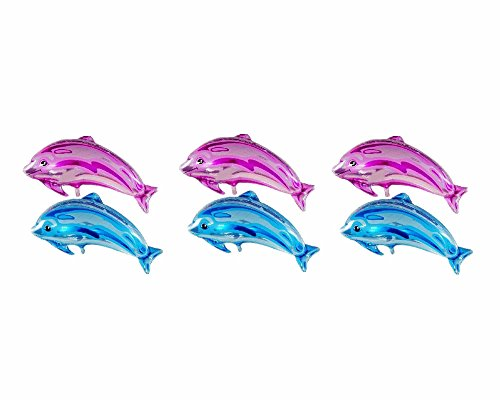 Dolphin Decoration - LOKMAN 6 Pack 32'' Giant Dolphin Aluminum Foil Balloons For Event Ceremony, Business Mall Celebration, Birthday Party Decoration (3 Pink, 3 Blue)