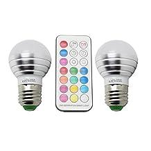 LJY 2-Pack E26/E27 3W RGBW LED Color Changing & Pure Light Bulbs AC 85-265V w/ IR Remote Control & Custom Timing Setting