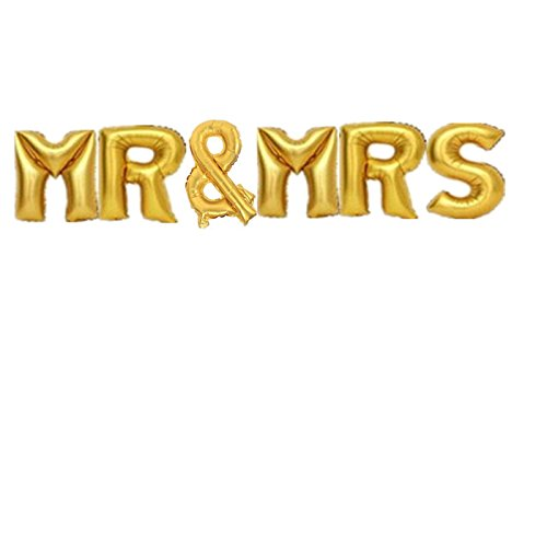 Yalulu 16inch MR & MRS Letter Wedding Foil Balloon Mylar Balloons for Wedding Birthday Party Decoration (Gold)