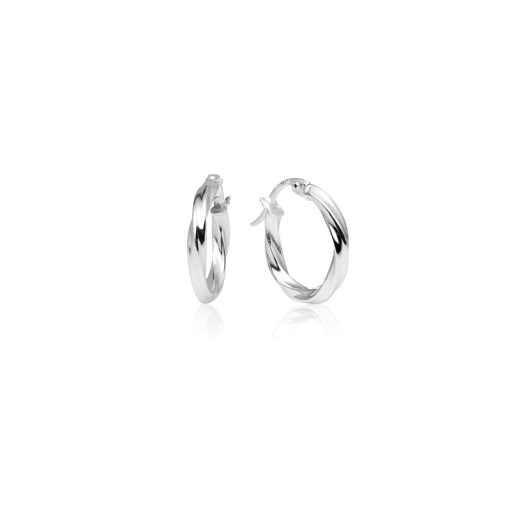 LOVVE Sterling Silver High Polished Twist Round Click-Top Hoop Earrings, 2x15mm