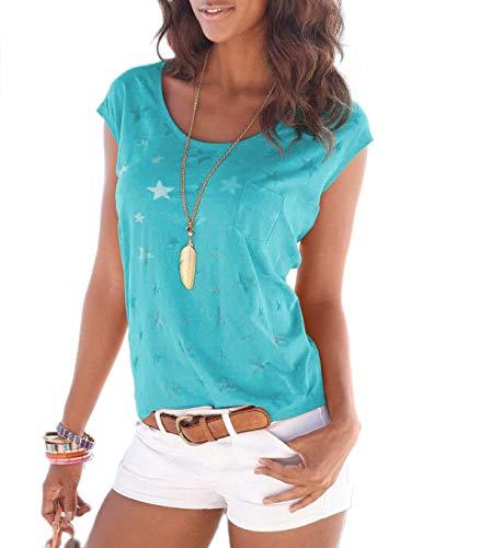 TrendiMax Women Summer Loose Short Sleeve Star Printed Casual T-Shirt Blouse Tops - Star Cotton All T-shirt