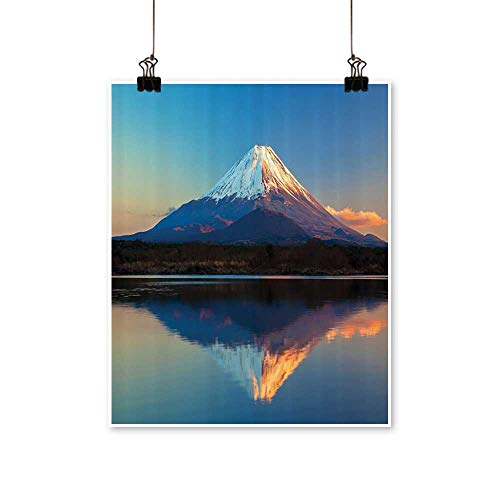 1 Piece Wall Art Painting llecti Mount Fuji and Lake Shoji Clear Sky Sun Living Room Office Decoration,24
