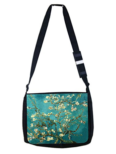 Artist Vincent Van Gogh's Almond Blossoms Painting Print Design - Girls Large Black Multi-Purpose School Shoulder Messenger Bag and Pencil Case Set - Elementary/Middle / High School ()