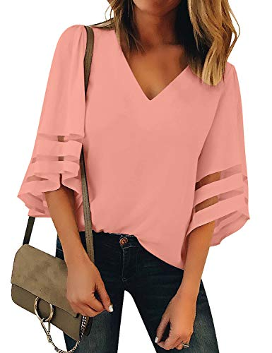 Vetinee Women's Pink 3/4 Bell Sleeve Shirt Mesh Panel Blouse V Neck Casual Loose Tops Large (US 12-14) ()