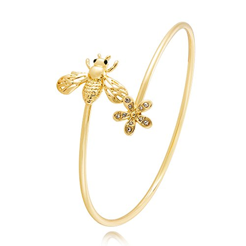 TUSHUO Simple Bee Flower Arm Bracelet Charm Animals Bee Upper Armlet Open Bangle Armband (Gold)
