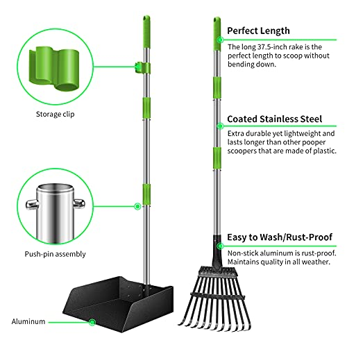 morpilot Dog Pooper Scooper with Poop Bags, Adjustable Long Handle Stainless Metal Tray, 11-Teeth Rake, Pet Waste Removal for Large Medium Small Dogs and Pets, Great for Your Entire Yard
