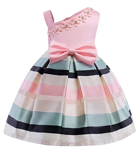 AYOMIS Litter Big Girl Flower Dress Princess Bow Party Wedding Tutu Gowns(Pink,7-8Y)
