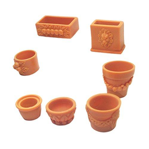 MagiDeal Mini 7 Pieces Plastic Assorted Flower Pot for 1:12 Scale Dollhouse Miniature Garden Furniture Decor Kits