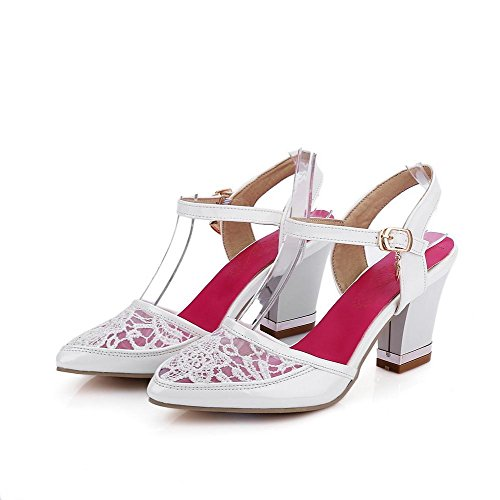 AgooLar Women's Solid Pu High Heels Closed Toe Buckle Sandals White y3wLu