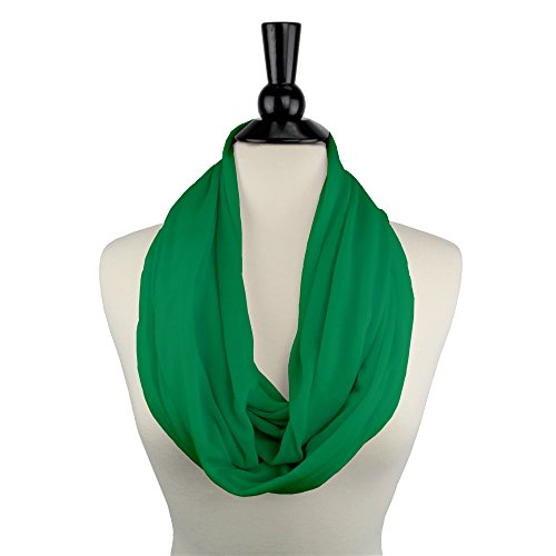 Cyber Monday Sale 2017  Holiday Deals  Sales   Solid Color Green Infinity Scarf Womens Fashion Scarf Zipper Pocket  Best Gifts For Women  Girls  Ladies  Friend
