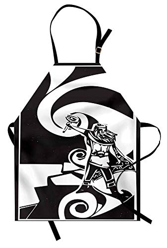 Miss Sweetheart Mjolnir Apron, Icelandic Image of The Viking Thor with Swirling Clouds Myth Hero Spiritual, Funny Kitchen Aprons Men Women Kids High Waist Apron, Black and White ()
